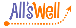 All's Well project logo. Purple and orange writing with a dotted arrow going upwards to signal positivity.